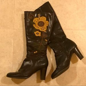 Aerosoles Brown Leather Knee Boots Embroidered